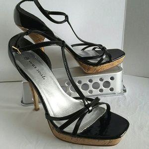 Wet Seal Heels Strappy Sandals Black Cork Heel 9